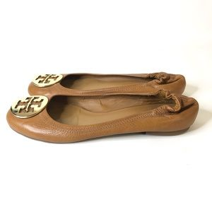 Tory Burch Brown Leather Flats Rounded Toe
